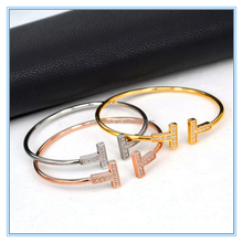 Latest Design Double T Letters Opening Bangle.Europe And The United States Copper Rose Gold Plated Stock Bracelet
