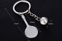 hot selling mini tennis ball metal key chains custom sports token metal key holders