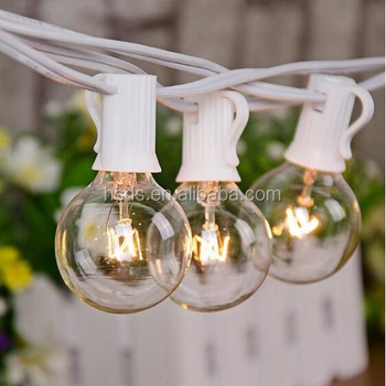 UL E479066 Beauty World G40 Globe Incandescent Clear Bulbs E12 Socket String Lights, Garden Outdoor Christmas Party Decorative