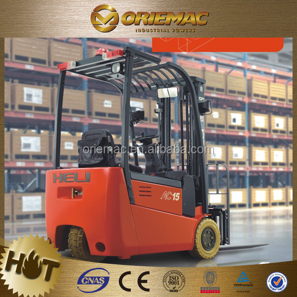 HELI new 3 wheel electric forklift with 1.5 ton capacity CPD15