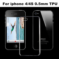 China Factory Diretly Sell 0.5mm Round Conor Transparent Tpu Case For iphone 4 4S 500PCS Freeshipping