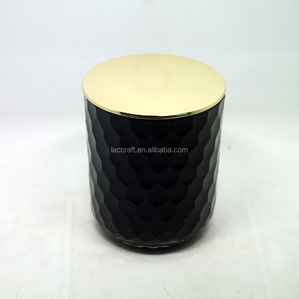Supplier of painted black candle jar glass with metallic gold copper lid