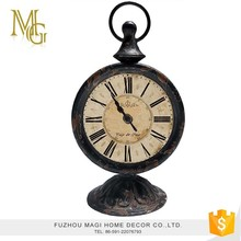 French style rustic classic wooden antique table clock/desk clock