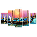 Docked Boat Canvas Printing Charming Harbor City Modern Giclee Artwork Wholesale Stretched Canvas Painting for Interior Decor