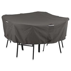Waterproof outdoor furniture cover for oval table set in black