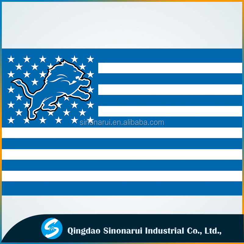 Detroit Lions with US Stars Stripes Flag New 3x5FT Polyester free shipping