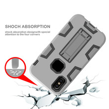 Invisible folded stand shockproof 2 in 1 silicone and PC durable case phone shell for iphone 4 4s
