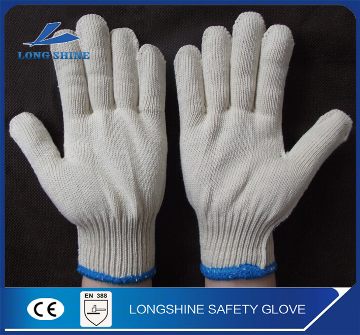 Cheap price 10G seamless white polyester cotton knitted industry hand work glove en388