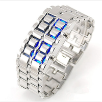 Iron samurai lava style led watch for mens samurai Metal LED Faceless Bracelet watch Wholesale Lava watch
