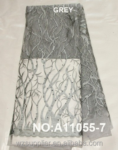 2016 New embroidery design ash grey french lace fabric / tulle lace french net lace fabric for nigeria parties