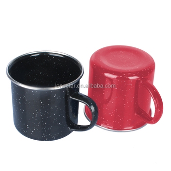 Hot selling 350ml Red Speckle Camping Enamel Mug for small orders in USA