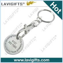 2013 metal coin key chain with shopping cart coin