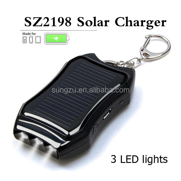 Low carbon solar charger , environment protective solar mobile phone universal charger with keychain and led torch design