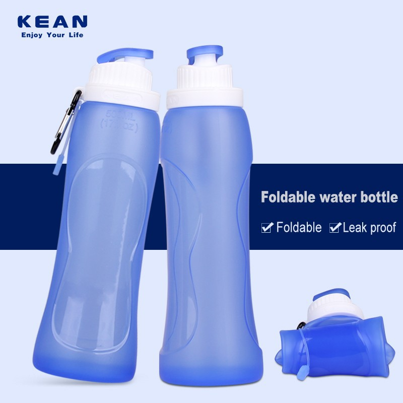custom logo collapsible silicone travel shaker bottle