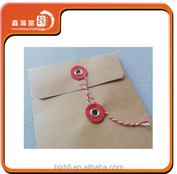 XHFJ a4 brown kraft paper business envelope with string wholesale
