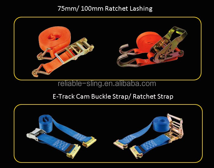 Retractable Ratchet Strap Belt w/ Wire Hooks for Flatbed Truck Trailer