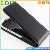 New ! Retro Real Genuine Leather Case for iPhone 4 4S 4G / 5 5S 5G Luxury Vertical Magnetic Flip Phone Accessories Cover Black