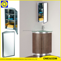 Popular furniture Wall Mounted 430 SS mirrored bathroom corner cabinet