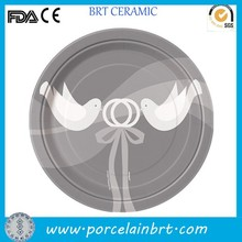Custom plain two birds flying good luck plate for wedding decoration