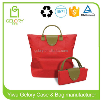 Custom folded style beach bag with pu handle Microfiber Polyester foldable bag