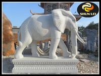 hand carved marble elephants