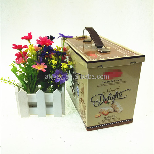 personalized design nut chocolate candy metal tin box for gift with handle