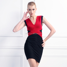 Red and black V neck rayon bandage short online prom dress dropshipping