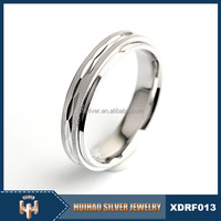 Newest design pure silver plain sample Arabic muslim engagement rings