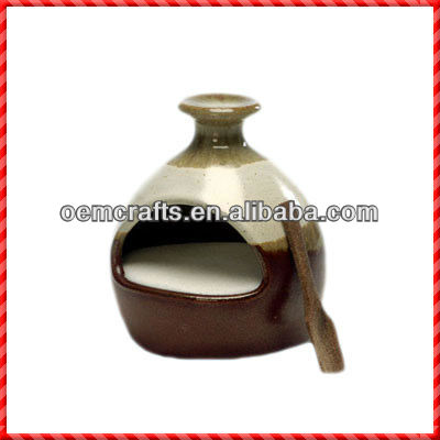 Durable high quality ceramic salt container with spoon
