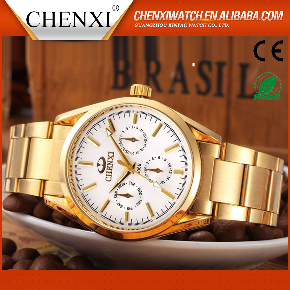 China Genuine Hot Selling Gold Watch Men's Watches CHENXI 006AIPG