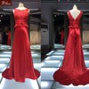 Sexy Sleeveless 2015 New Design Red Appliqued Evening Dress/Elegant High Quality Fitted Evening Dress