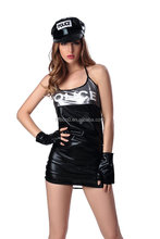 Cool Style Tight Sexy Costume with Hat Hot Female Summer Costum Wet Patent Leather Fashion Dancing Corset Lingerie