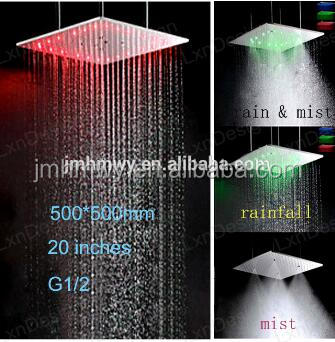 Luxury led rain shower head square 3 color light changing led shower 500*500mm