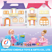 Happy family fashion plastic miniature doll house furniture with light