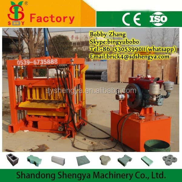 New products QT4-40 hydraulic diesel <strong>engine</strong> concrete paver block making machine no need electric