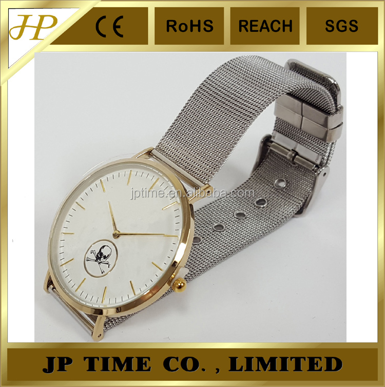 brick style face shiny thin style 304 stainless steel case and band classy watch