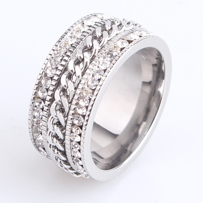 10mm chain double row crystal Stainless Steel wedding rings for men and women
