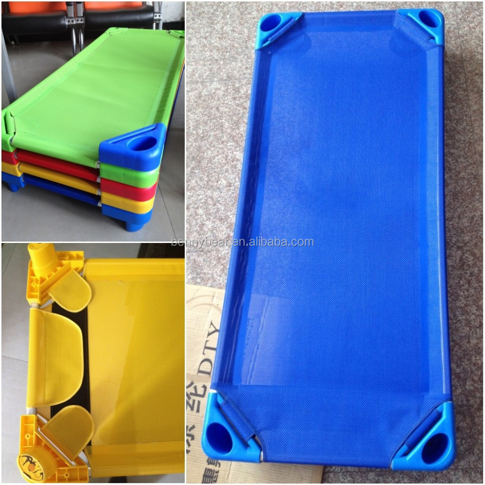 Hot Sale ! Children Plastic Bed with Mesh Cloth Stackable