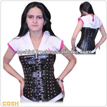 Fullbrust Steel Bone Leather Corset Bustier / Leder Korsett