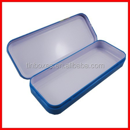 high quality metal hot packing tin pen box with hinge