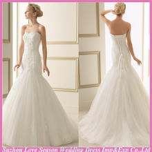 WD5234 2016 New style strapless white sleeveless ruched top lace organza sweep train sweetheart 2015 mermaid wedding dress