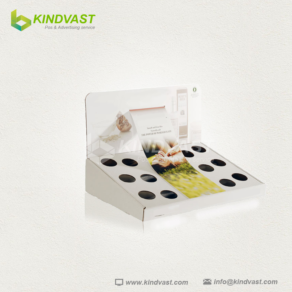 corrugated cardboard counter display for skin care