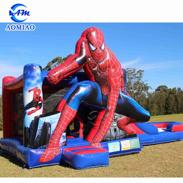 Spider man bouncy castle slide commercial kids jumping castle for sale