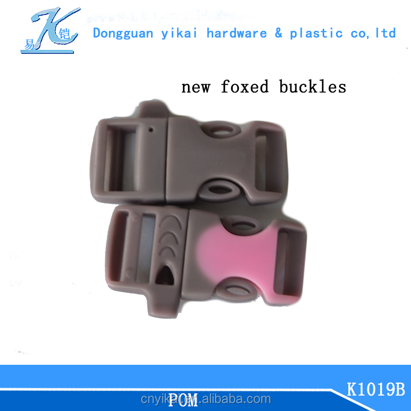 2015 exclusively sold foxed plastic buckle,colored plastic side release buckle with whistle