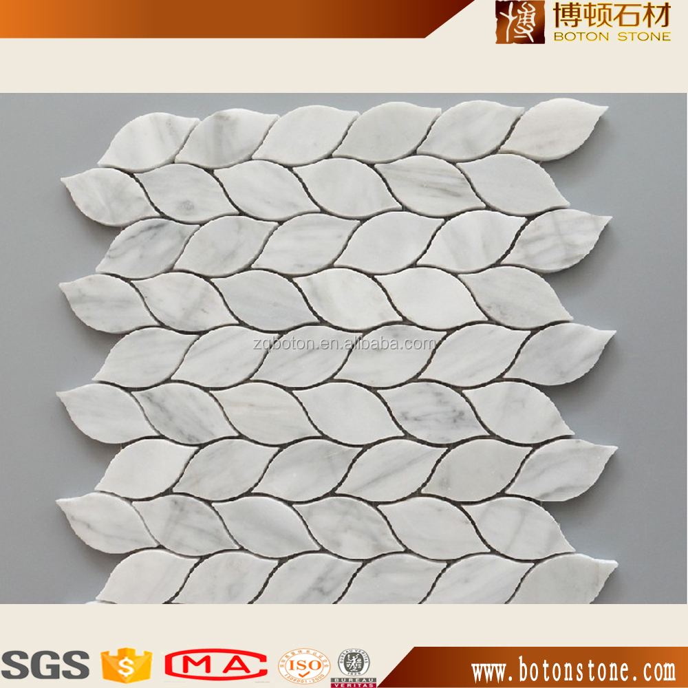 leaf shaped white water jet marble mosaic for bathroom