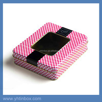 rectangle gift metal tin box with clear window