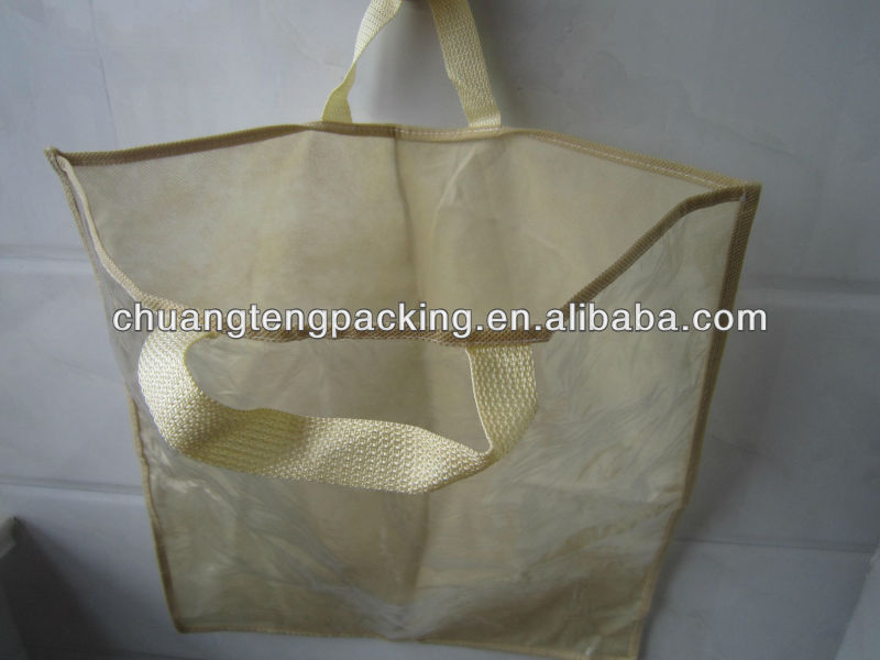 Cheap clear pvc handle packing plastic bag pvc clear tote bags