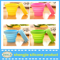 Christmas gifts folding silicone cup with lid