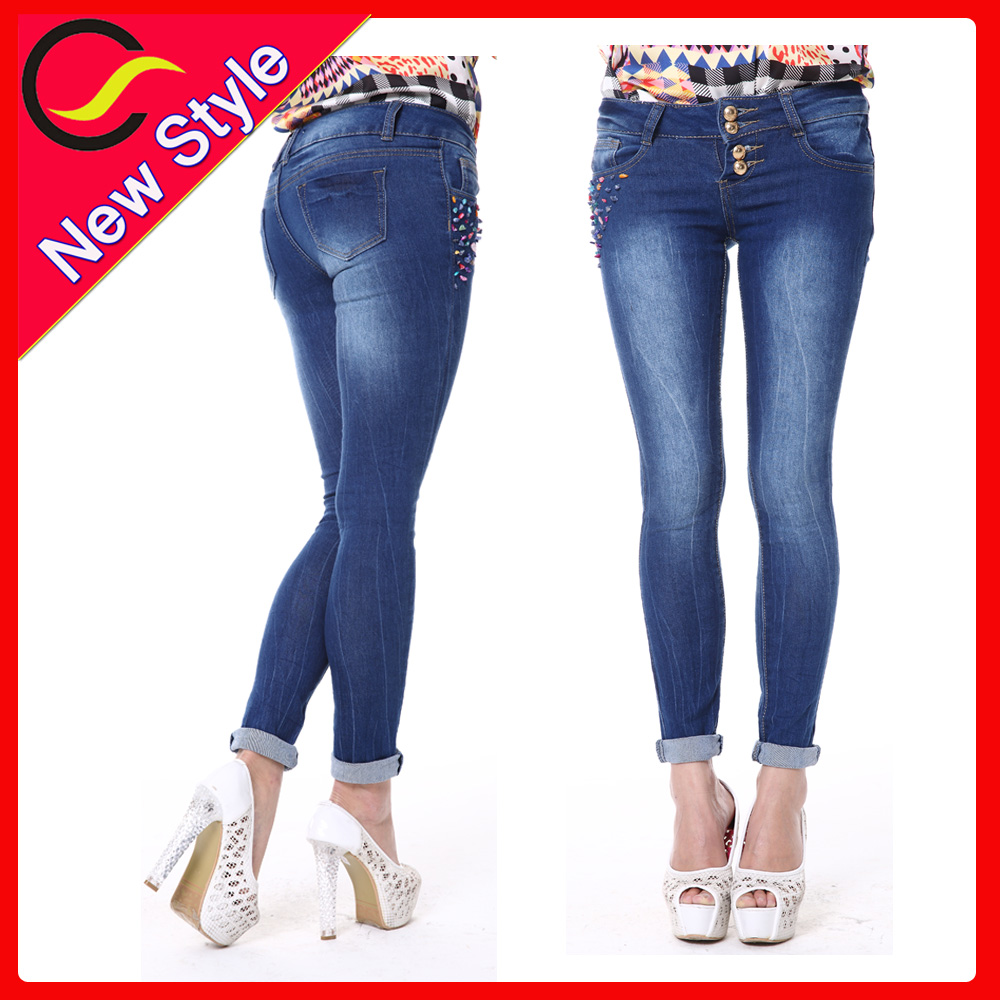 2015 most popular stretch black shiny jeans for women