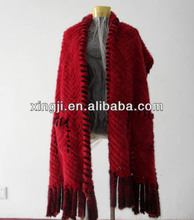 Red/black Color Womens Knitted Mink fur shawl